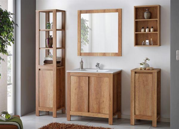 Badmöbel Set 5-tlg Badezimmerset KLASSIK Eiche inkl.Waschtisch 80 cm