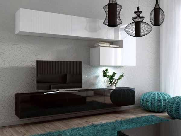 Mediawand Wohnwand 8 tlg -Konzept 15-Weiss/Schwarz HGL LED-Beleuchtung