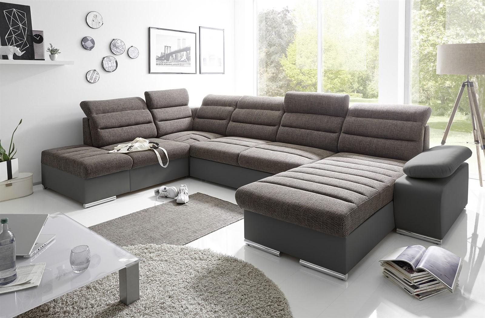 couchgarnitur pascara u form mit schlaffunktion schwarz otto rechts fun m bel. Black Bedroom Furniture Sets. Home Design Ideas