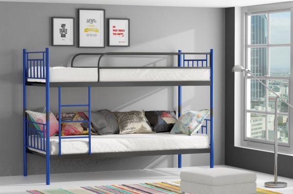 Etagenbett Teilbar Metall : Metallbett darvin blau anthrazit hochbett in zwei einzelbetten