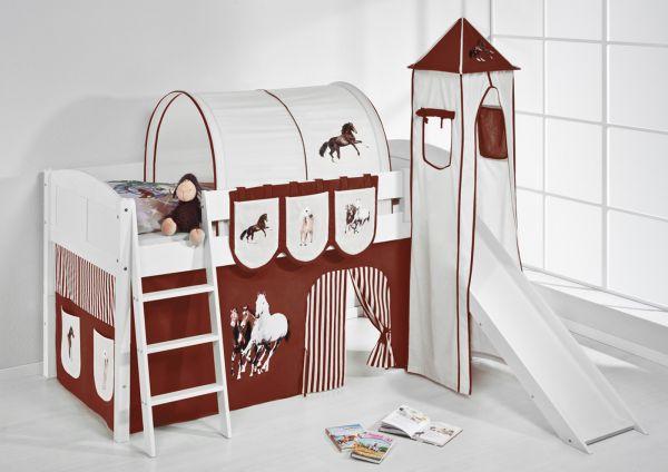Spielbett mit Rutsche,Turm, Vorhang -LANDI/S -Pferde Braun-Kiefer Weiss