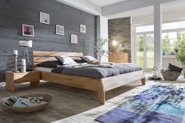 Massivholzbett Schlafzimmerbett - Reni - Bett Kernbuche 200x200 cm