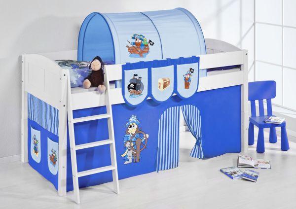 Spielbett Bett -LANDI - Pirat Blau -Teilbar- Kiefer Weiss-mit Vorhang