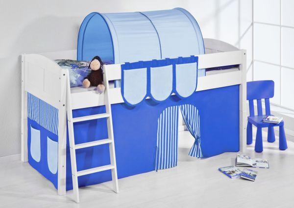 Spielbett Bett -LANDI -Blau Hellblau -Teilbar-Kiefer Weiss-mit Vorhang