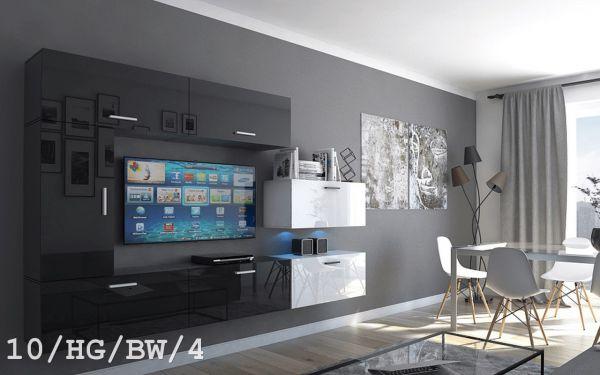 Mediawand Wohnwand 7 tlg - Bedox 3 -Schwarz- Weiss HGL Nr.2 / inkl.LED