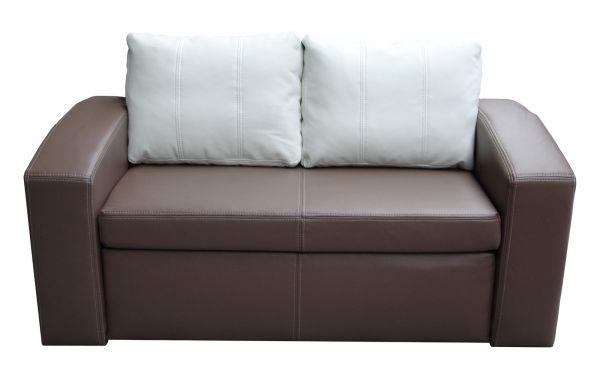 schlafsofa sofa simone mit schlaffunktion kunstleder braun weiss fun m bel. Black Bedroom Furniture Sets. Home Design Ideas