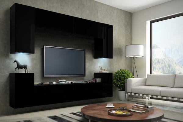 Uberlegen Mediawand Wohnwand 8 Tlg   Konzept 1   Schwarz HGL Mit LED Beleuchtung