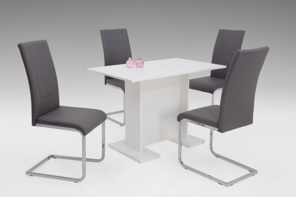 Tischgruppe MARLIS 5-teilige Essgruppe - Weiss / Grau