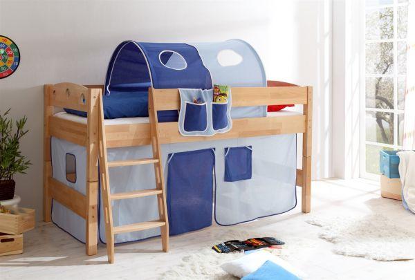 Etagenbett Vorhang Blau : Systembett hochbett kenix kiefer massiv weiss inkl vorhang blau