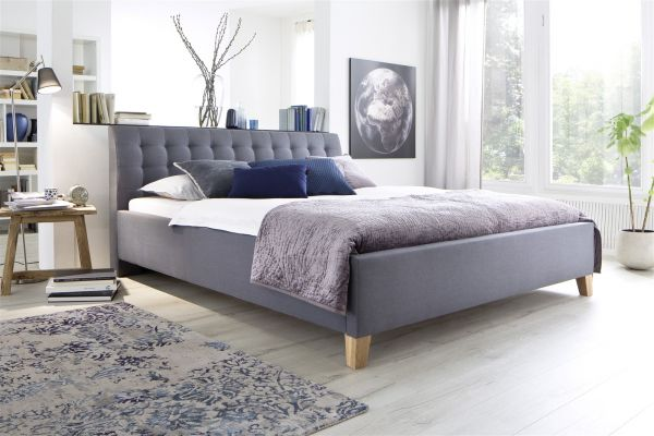 Polsterbett Bett Doppelbett - DENNIS -180x200 cm Stoffbezug Grau