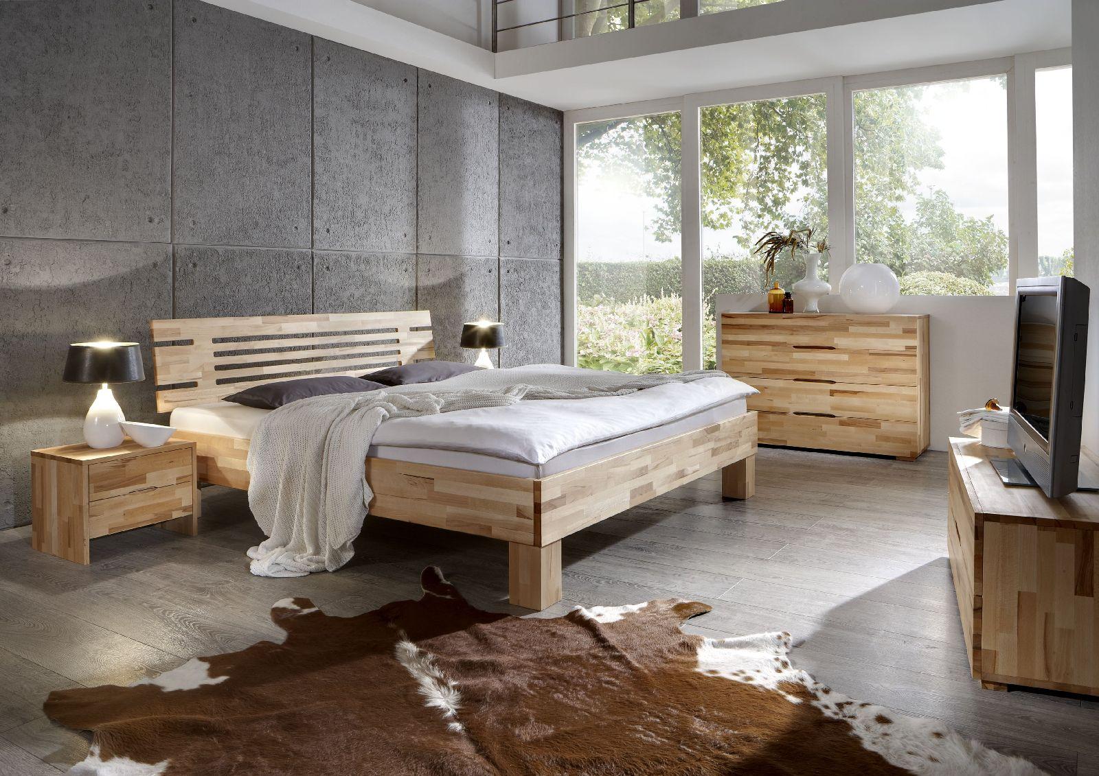 ec5617fddb Massivholzbett Schlafzimmerbett - LANDO - Bett Kernbuche 140x220 cm |  Fun-Möbel