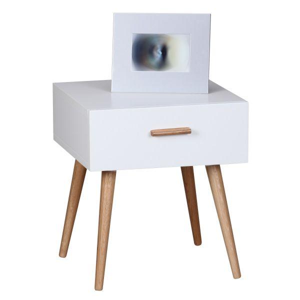 Nachtkommode Nachttisch - LYKKA - eine Schublade in Weiss matt