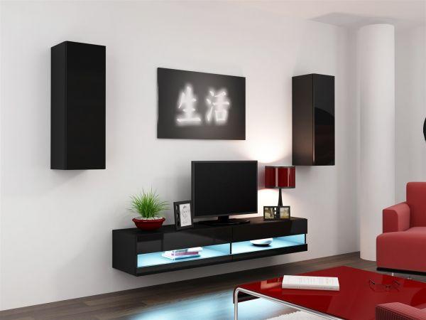 Mediawand Wohnwand 3 tlg - SENTIC 10 - Schwarz Hochglanz inkl.LED