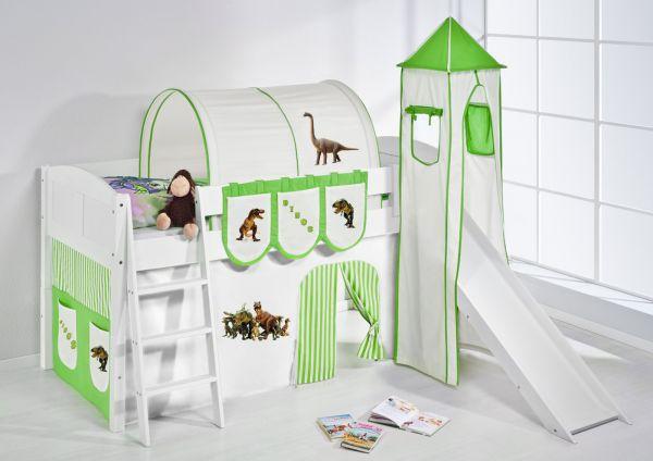 Spielbett mit Rutsche,Turm, Vorhang -LANDI/S -Dinos Grün -Kiefer Weiss