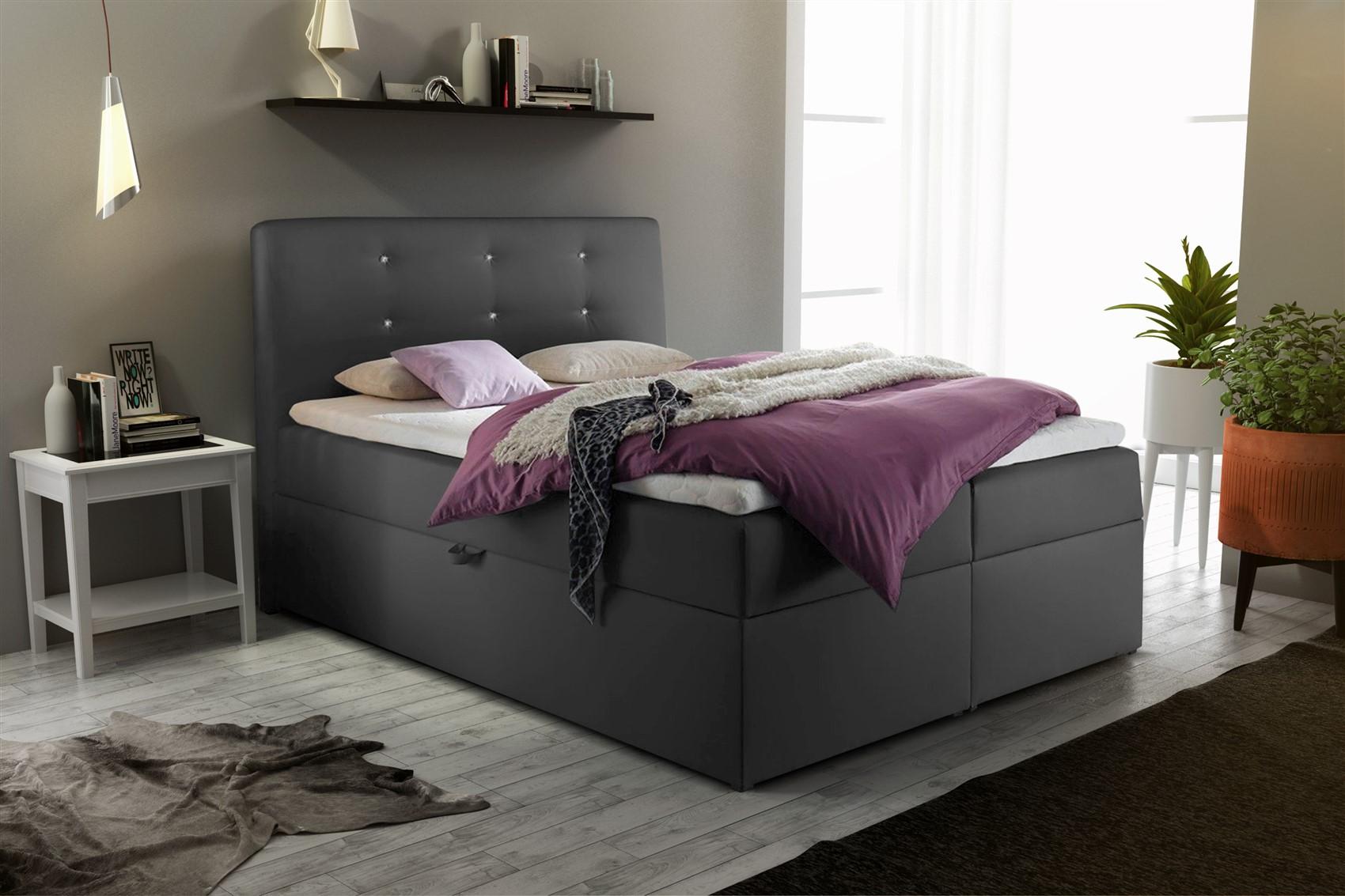 boxspringbett schlafzimmerbett monza kunstleder anthrazit. Black Bedroom Furniture Sets. Home Design Ideas