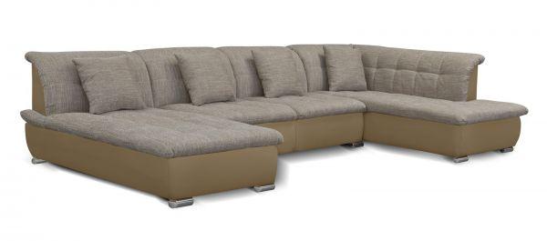 Couchgarnitur NICOLE ohne Schlaffunktion Ottomane Links Sand/Cappuccino