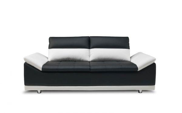 Sofa 3 Sitzer Mondi Kunstleder Schwarz Weiss 211x90x100 Cm Fun Mobel
