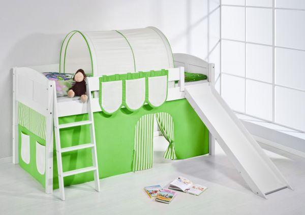 Spielbett mit Rutsche -LANDI/R -Grün Beige -Kiefer Weiss -mit Vorhang