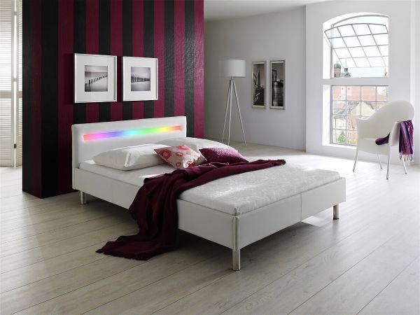 Polsterbett 160 x 200 cm DIVA Soft Lederoptik-Weiß