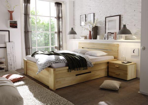Massivholzbett Schlafzimmerbett - RONI - Bett Kernbuche 140x200 cm