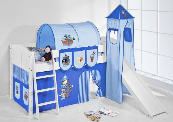 Spielbett mit Rutsche,Turm, Vorhang -LANDI/S -Pirat Blau -Kiefer Weiss
