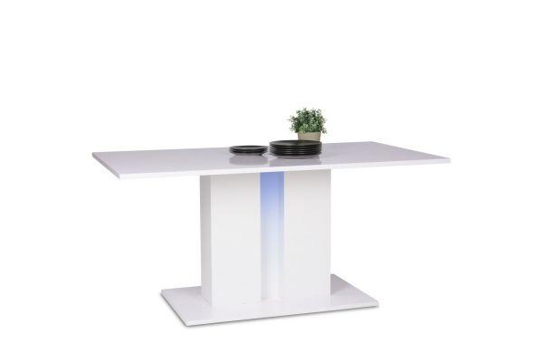 Tisch Esstisch -Shine - Weiss Hochglanz -Säulenfuß 160 x 90cm