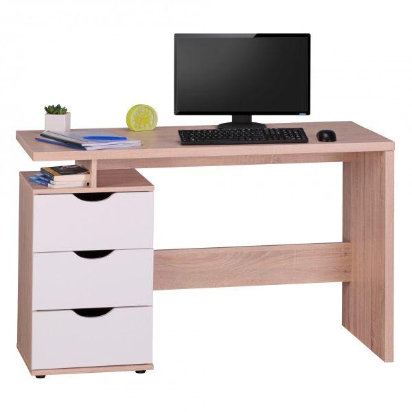 Schreibtisch Computertisch -TOMI -Bürotisch mit Schublade Sonoma/Weiß