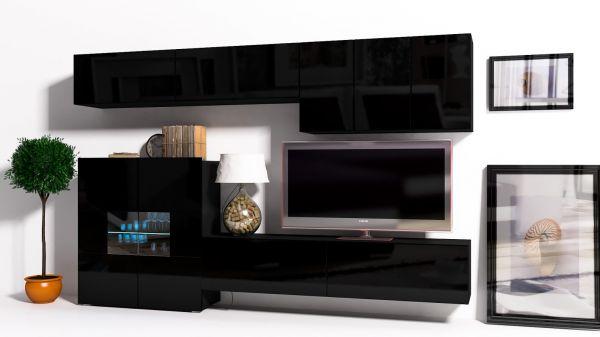 Mediawand Wohnwand 8 tlg - Konzept 16 - Schwarz Hochglanz