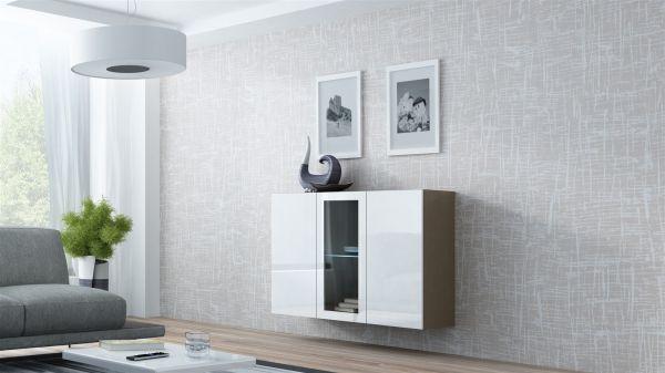 "Sideboard Hängesideboard ""LUGO"" 120x38x90 cm Latte/ Weiss HGL mit LED"