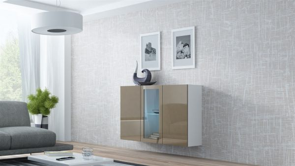 "Sideboard Hängesideboard ""LUGO"" 120x38x90 cm Weiss/ Latte HGL mit LED"