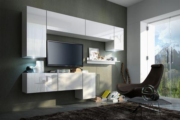 Mediawand Wohnwand 8 tlg - Konzept 5 - Weiss HGL mit LED-Beleuchtung