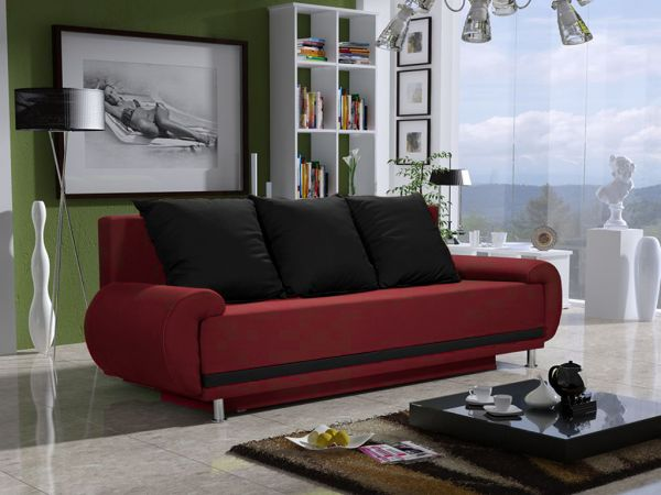 Sofa Designersofa MIKA 3-Sitzer mit Schlaffunktion Rot / Schwarz