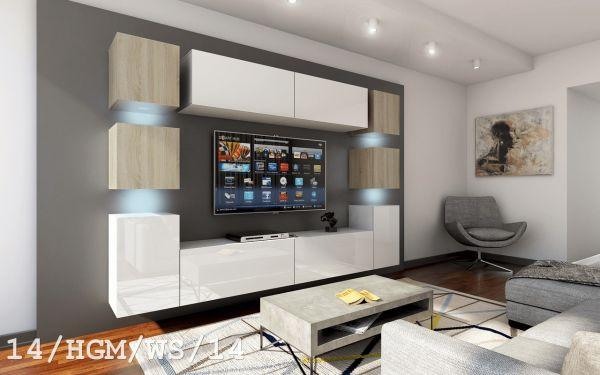 Mediawand Wohnwand 10 tlg - Konzept 40 Nr.2 - Weiss HGL / Sonoma matt