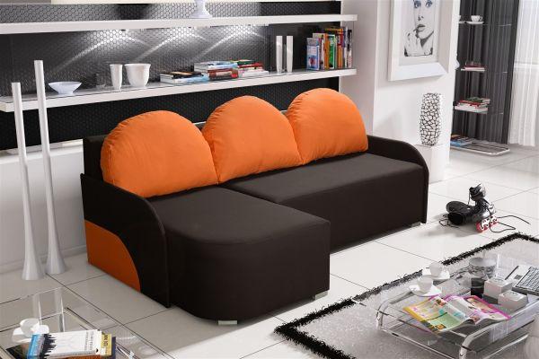 Ecksofa Sofa CANDY mit Schlaffunktion Otto... Links Dunkelbraun/Orange