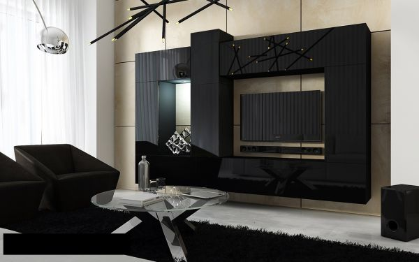 Mediawand Wohnwand 10 tlg - Konzept 22 - Schwarz Hochglanz
