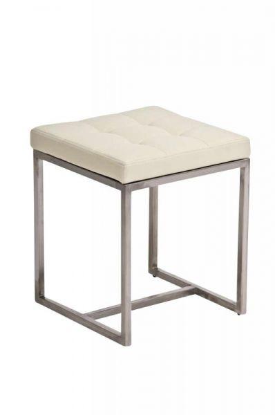 Sitzhocker - BRIT 2 - Hocker Sessel Kunstleder Creme 40x40cm
