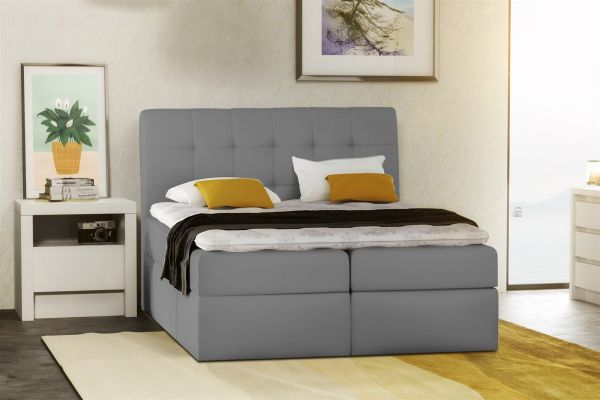 boxspringbett schlafzimmerbett turin kunstleder hellgrau 180x200 cm fun m bel. Black Bedroom Furniture Sets. Home Design Ideas