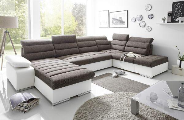 Couchgarnitur PASCARA U-Form mit Schlaffunktion-Weiss /Ottomane Links