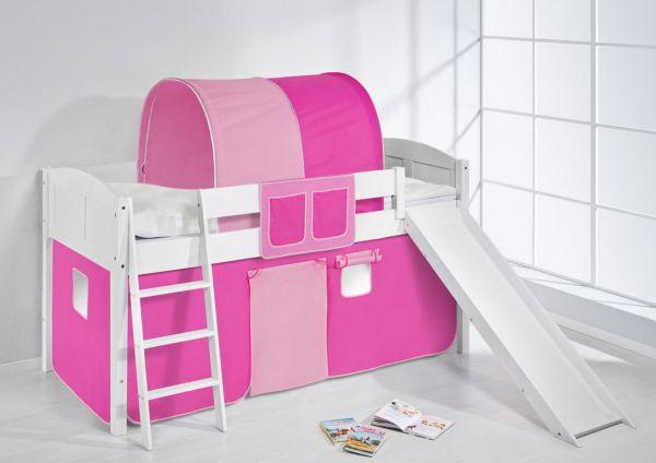 Spielbett mit Rutsche -LANDI/R - Pink Rosa -Kiefer Weiss -mit Vorhang