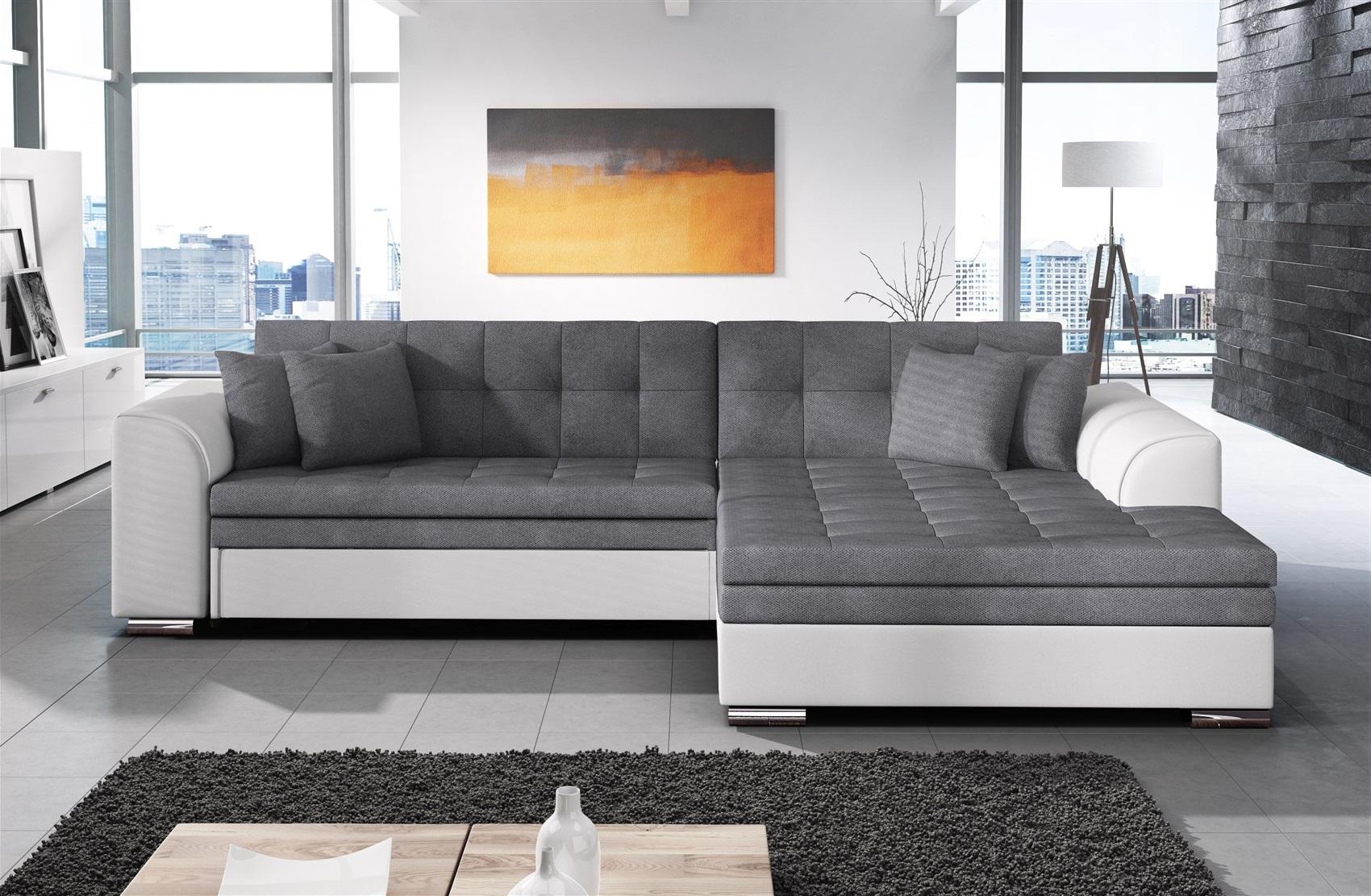couchgarnitur sarra weiss dunkelgrau mit schlaffunktion ottomane rechts fun m bel. Black Bedroom Furniture Sets. Home Design Ideas