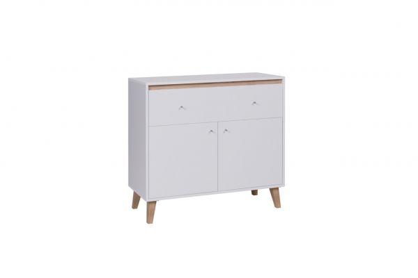 Kommode Sideboard Schrank KALMAR 100x90,5x40 cm in Weiss matt