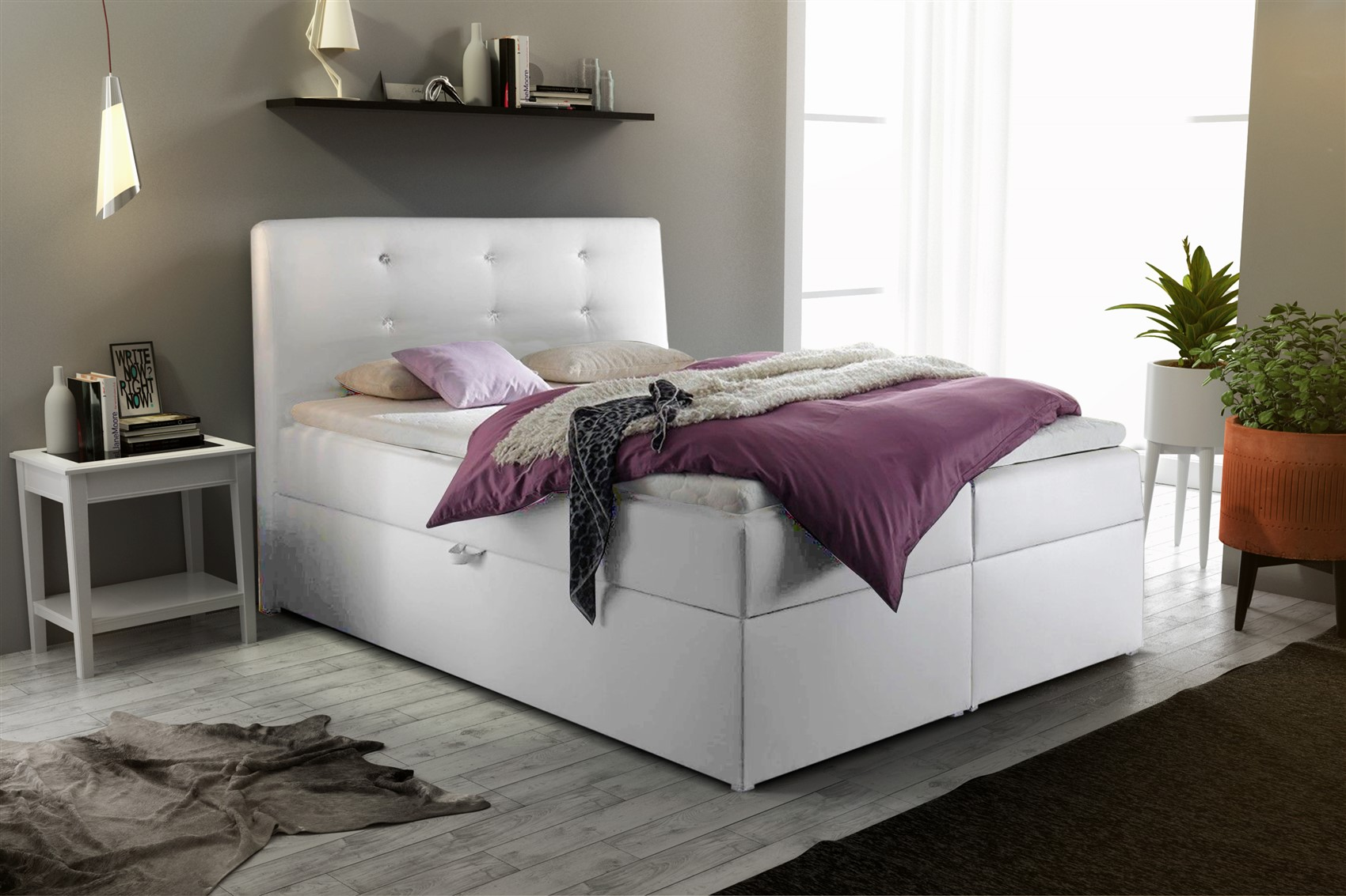 boxspringbett schlafzimmerbett monza kunstleder weiss. Black Bedroom Furniture Sets. Home Design Ideas