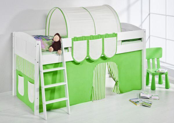Spielbett Bett -LANDI - Grün Beige - Teilbar-Kiefer Weiss-mit Vorhang