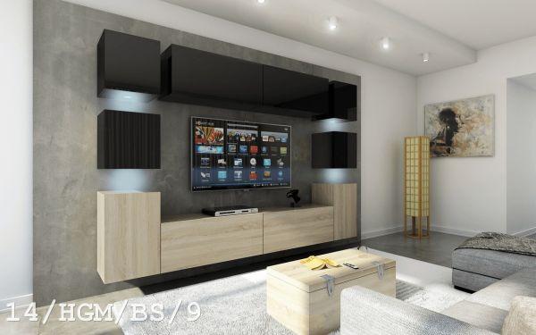 Mediawand Wohnwand 10 tlg - Konzept 40 Nr.2 - Sonoma matt/ Schwarz HGL