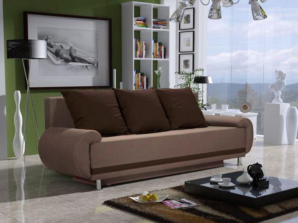 Sofa Designersofa MIKA 3-Sitzer mit Schlaffunktion Sand- Braun