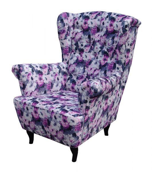 Sessel Ohrensessel Wohnzimmersessel - Orlando - Webstoff Blumenmuster