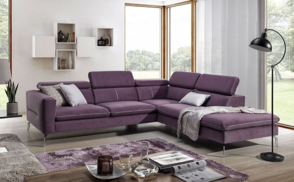 Ecksofa Sofa REZA Polyesterstoff Violett Ottomane Rechts