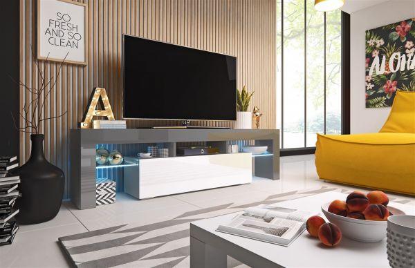 TV Board Lowboard TORIS Grau / Weiss Hochglanz 158cm