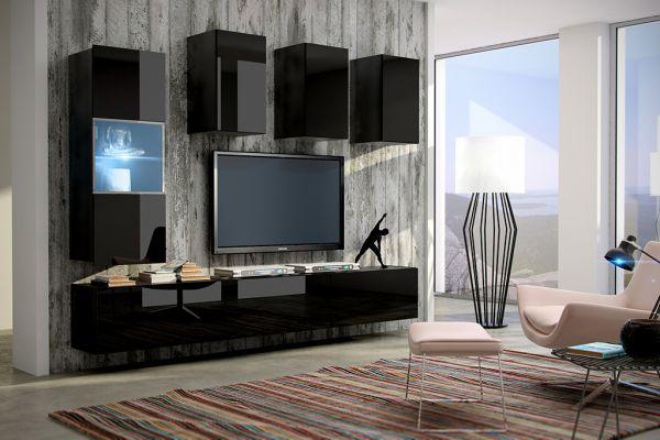 Mediawand Wohnwand 7 tlg - Konzept 4 - Schwarz Hochglanz