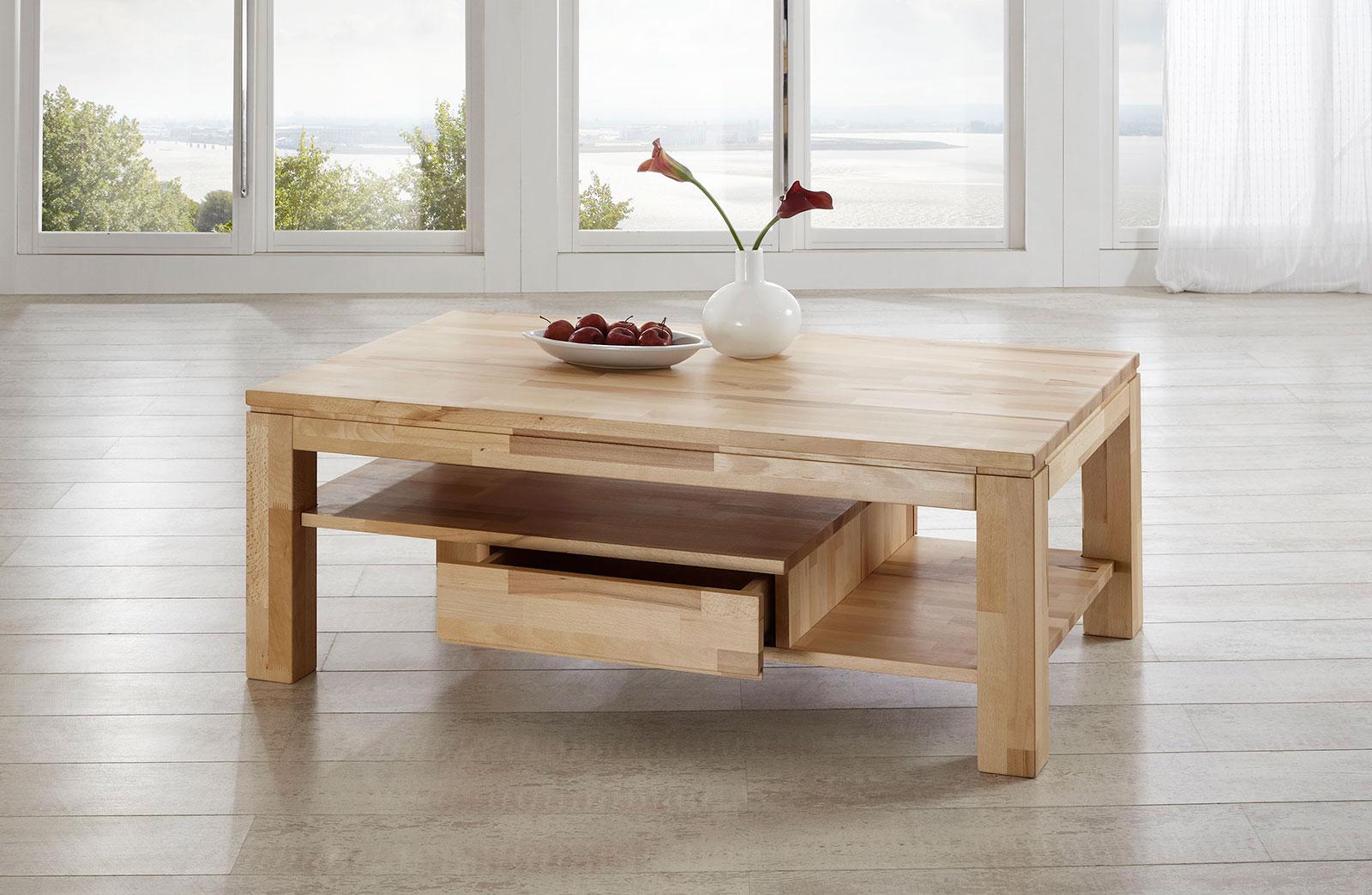 Couchtisch Tisch NIELS Kernbuche vollmassiv / Echtholz 43 x 43 cm